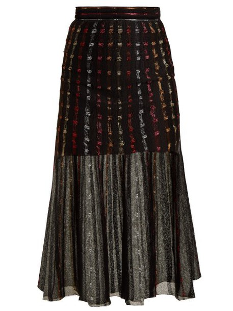 Alexander Mcqueen - Metallic Knit Pleated Midi Skirt - Womens - Black Multi