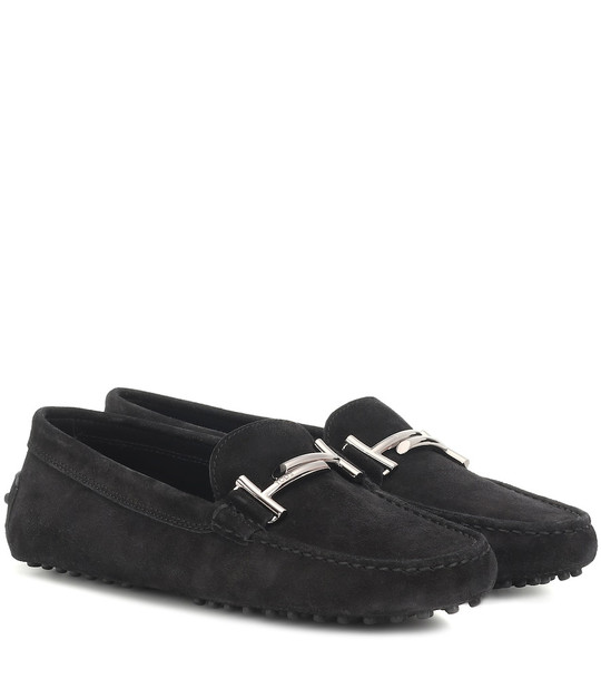 Tod's Gommino suede loafers in black