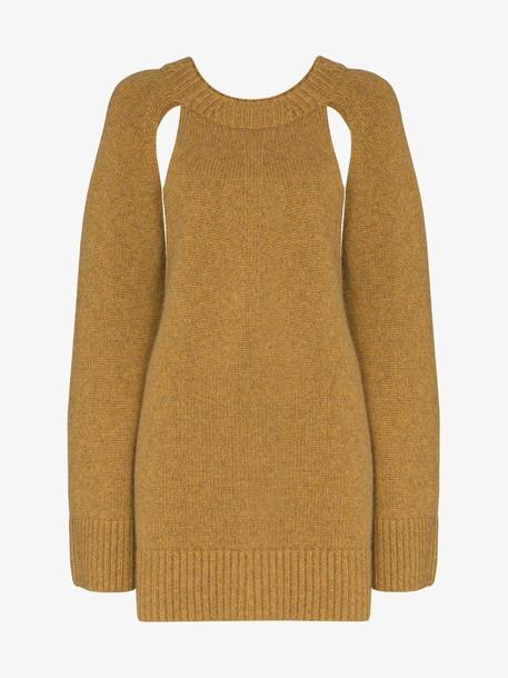 Khaite Liz cutout knit cashmere jumper in brown