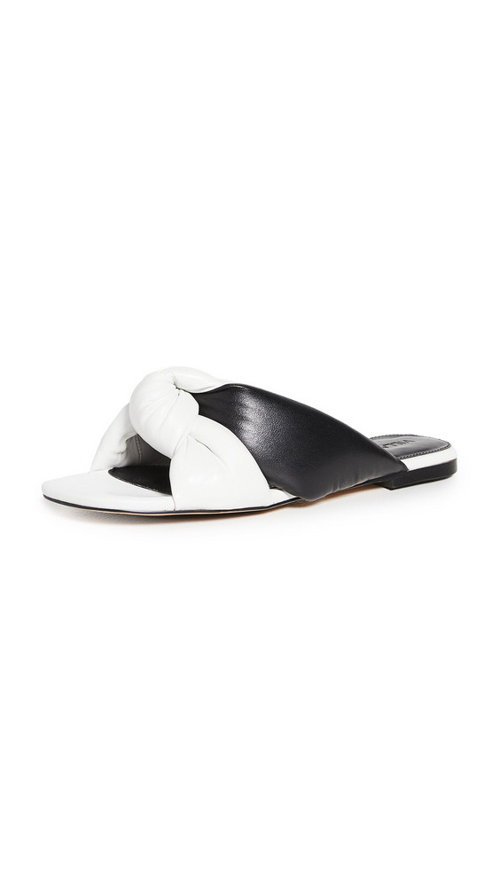 Villa Rouge Maddox Puffy Ruched Sandals in black / white