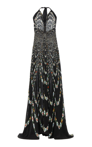 Givenchy Pleated Floral-Print Silk-Crepe Halter Gown in black