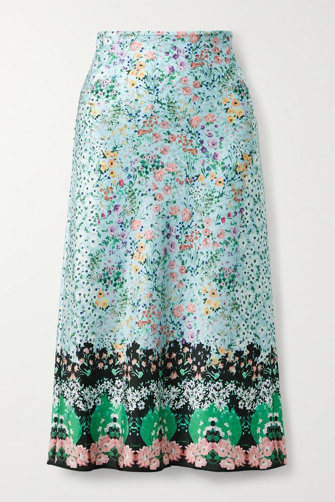 ALICE + OLIVIA ALICE + OLIVIA - Maeve Floral-print Satin Midi Skirt - Blue