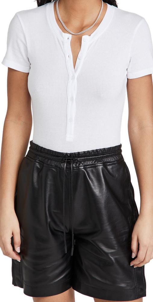 MONROW Rib Henley Thong Bodysuit in white
