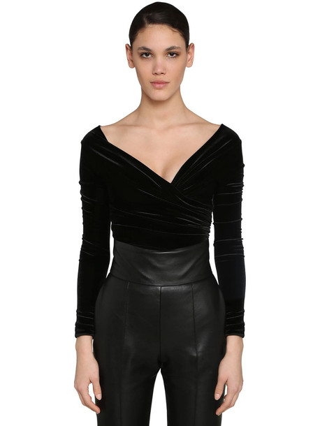 ALEXANDRE VAUTHIER Off Shoulder Stretch Velvet Bodysuit in black