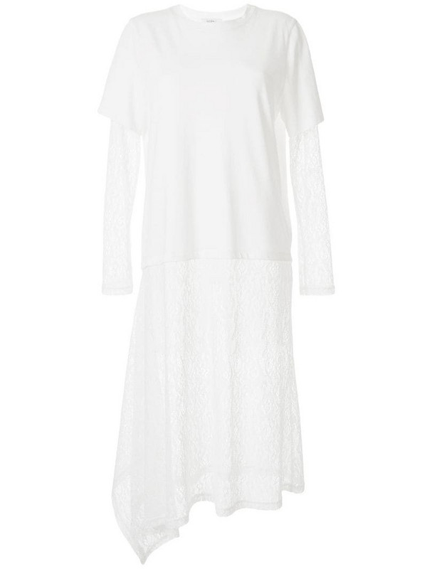 Goen.J overlayed lace T-shirt dress in white