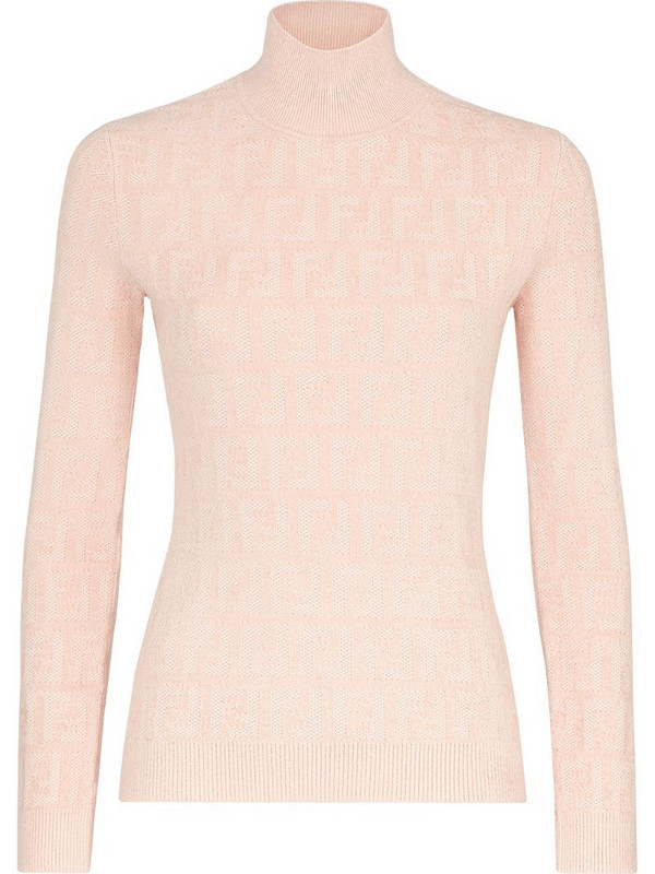Fendi FF jacquard high-neck jumper in pink