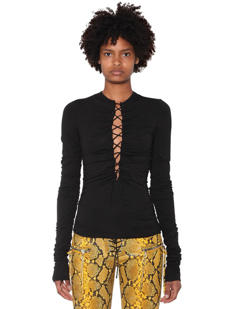 UNRAVEL Lace-up Viscose Jersey Top in black