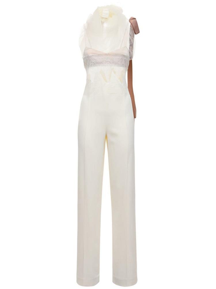 DANIELLE FRANKEL Crepe & Lace Jumpsuit in white