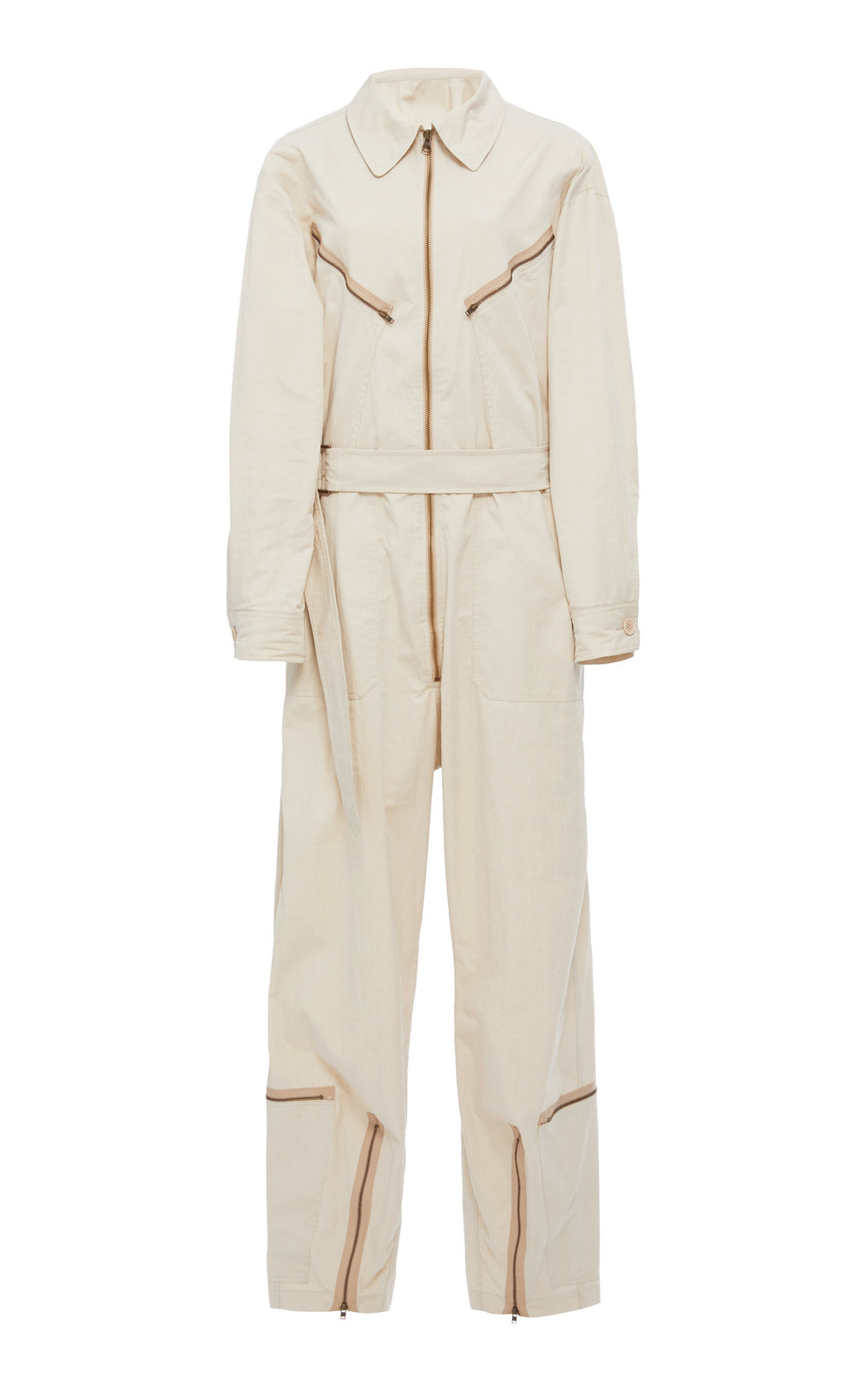 Tre by Natalie Ratabesi Pigalle Zippered Wide-Leg Cotton-Poplin Jumpsuit in neutral
