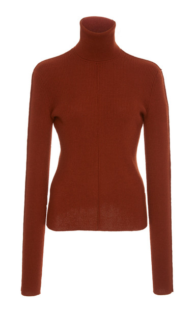 Sally LaPointe Ribbed Cashmere And Silk-Blend Turtleneck Top Size: XS in brown