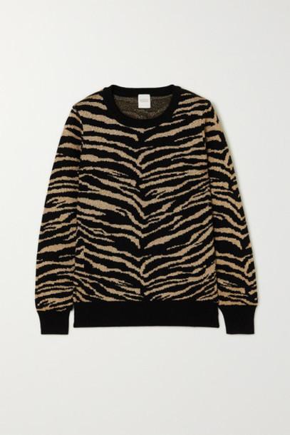Madeleine Thompson - Juno Metallic Tiger-intarsia Wool And Cashmere-blend Sweater - Black
