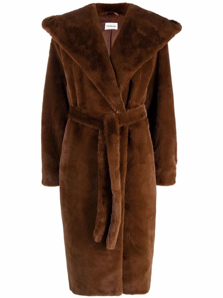 P.A.R.O.S.H. P.A.R.O.S.H. faux-fur midi trench coat - Brown