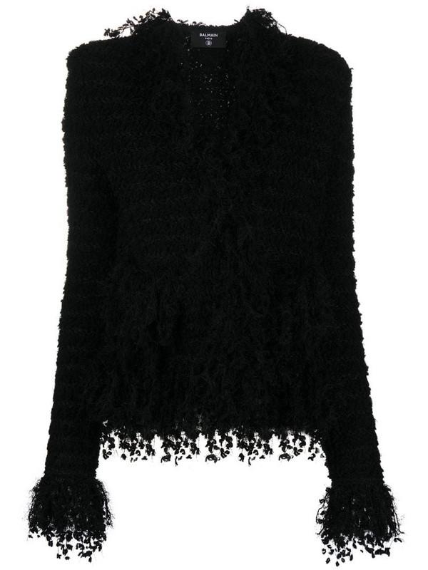 Balmain fringed stripe jacket in black