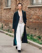 top,sequin top,white pants,wide-leg pants,high waisted pants,black coat,long coat