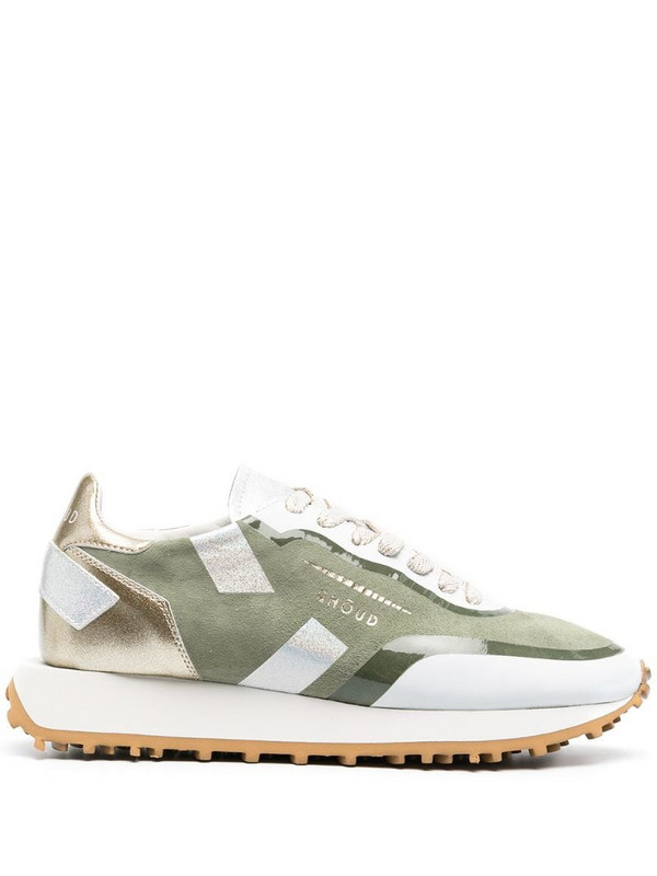 Ghoud metallic-patterned trainers in green