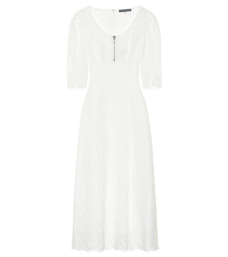 AlexaChung Embroidered cotton midi dress in white
