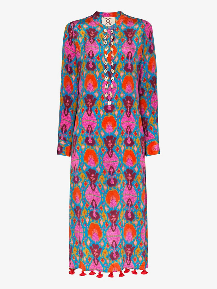 Figue Paolina ikat midi dress in red