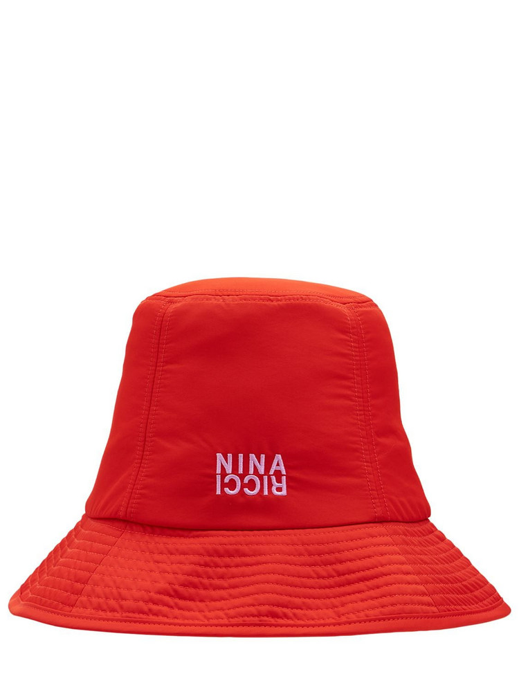 NINA RICCI Nylon Logo Hat in red / white
