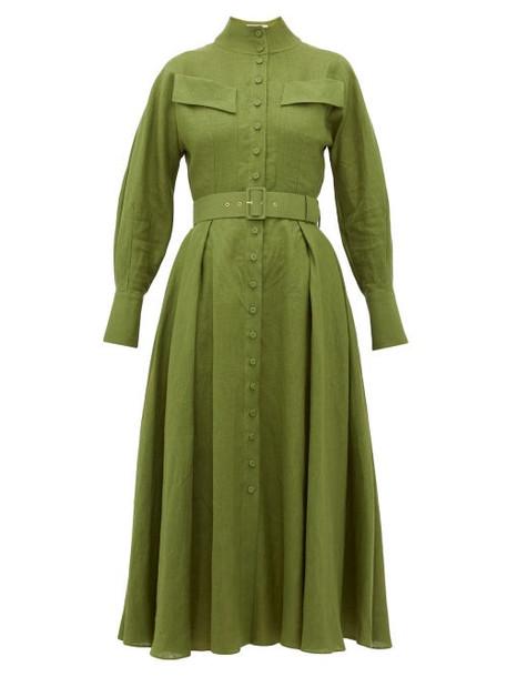 Emilia Wickstead - Appolina Belted Linen Shirtdress - Womens - Khaki