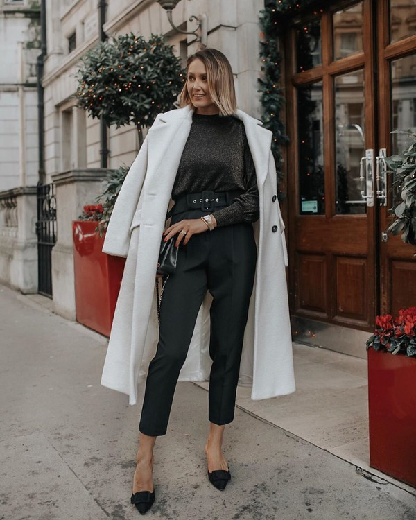 top black pants cropped pants mules white coat long coat black bag