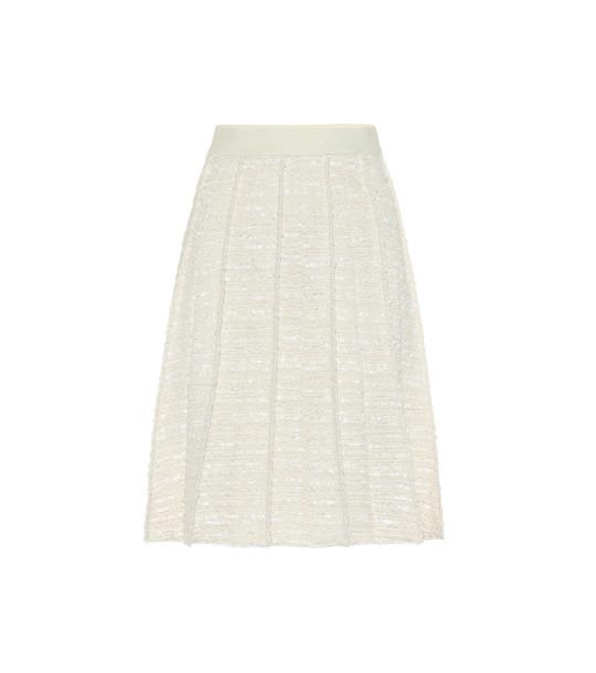 Giambattista Valli Bouclé cotton and wool-blend skirt in white