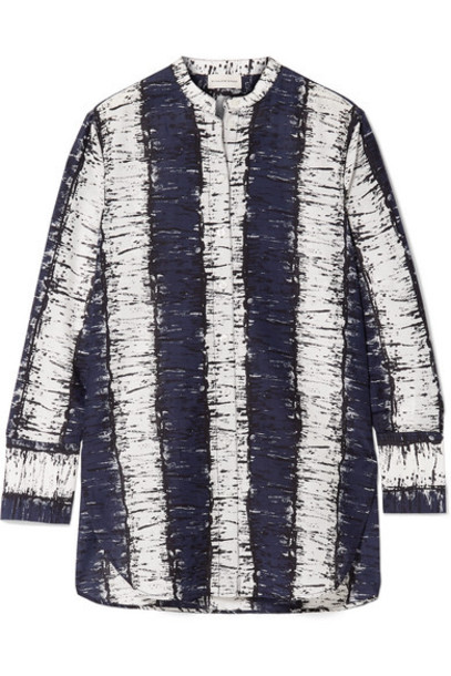 By Malene Birger - Sabara Printed Cotton And Silk-blend Shirt - Navy