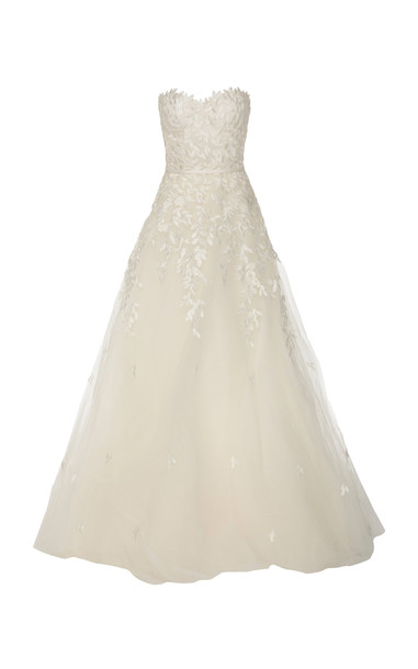 Mira Zwillinger Charla Strapless Embroidered Silk Tulle Gown in ivory