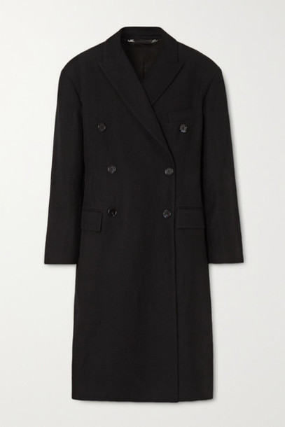 Acne Studios - Ode Oversized Double-breasted Linen And Wool-blend Twill Coat - Black