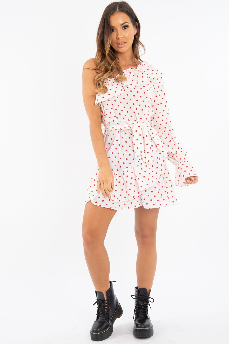 White and Red Polka Dot One Shoulder Frill Dress - Zyann