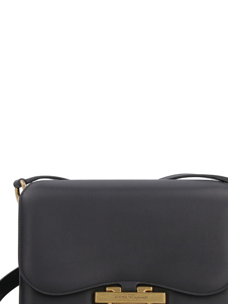 Salvatore Ferragamo Joanne Leather Shoulder Bag in black