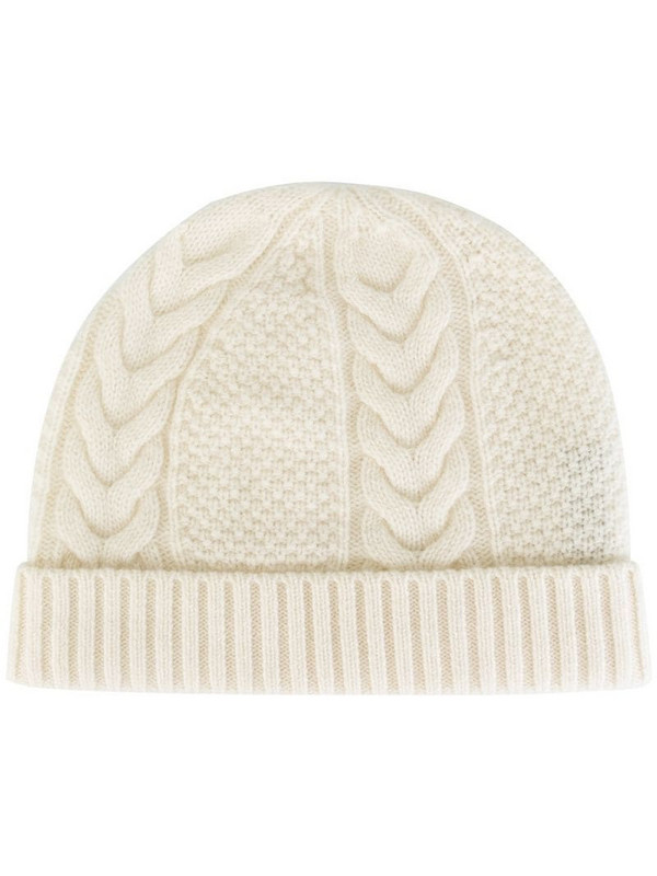 N.Peal cashmere cable knit beanie in white
