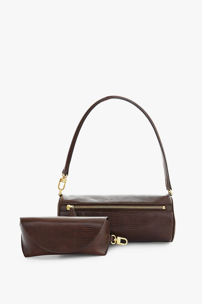 Staud SUZY BAG | BROWN LIZARD EMBOSSED