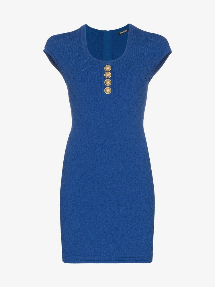 Balmain Buttoned knit mini dress in blue