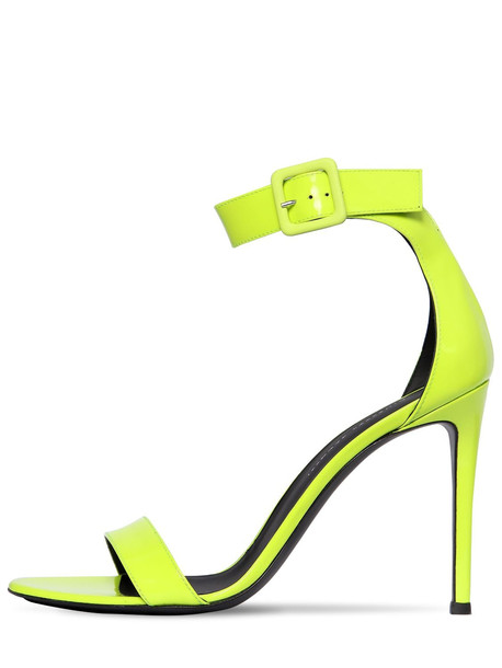GIUSEPPE ZANOTTI DESIGN 105mm Neon Patent Leather Sandals in yellow