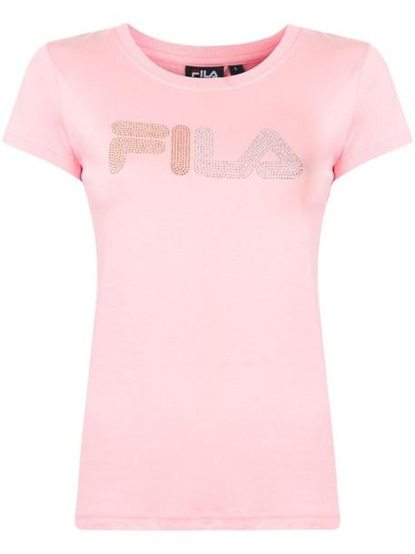 Fila embellished logo print T-shirt in pink