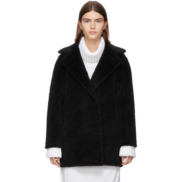 Harris Wharf London Black Alpaca Teddy Double-Breasted Coat
