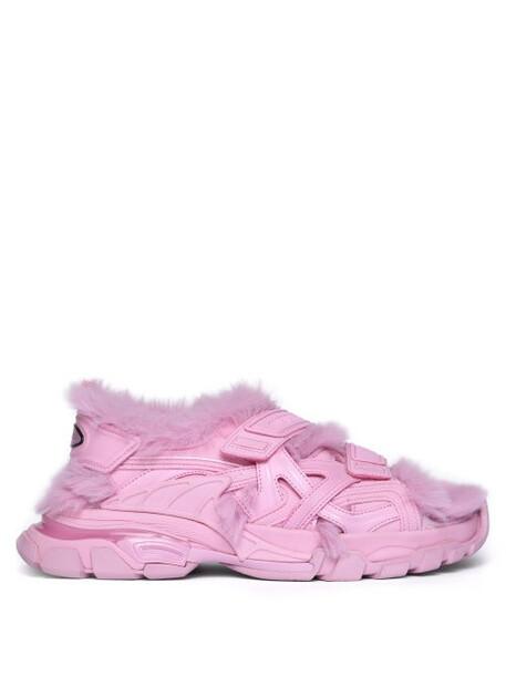 Balenciaga - Track Shearling Sandals - Womens - Pink