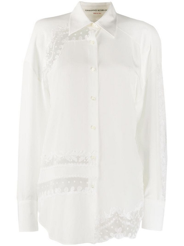 Ermanno Scervino lace-embellished silk shirt in white