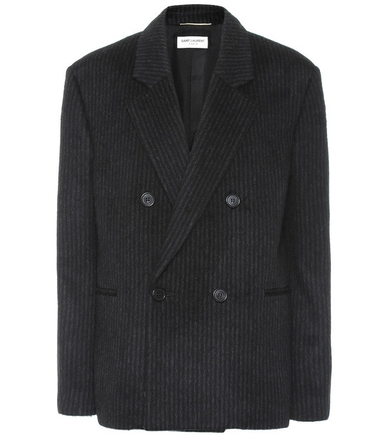 Saint Laurent Striped wool and cashmere blazer in black