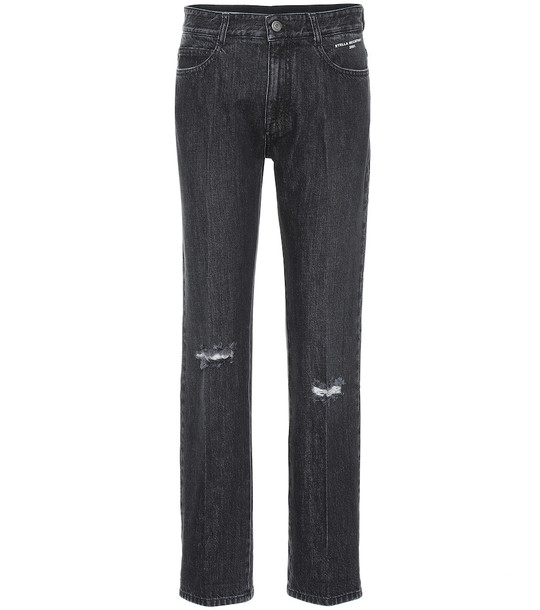 Stella McCartney Distressed high-rise straight jeans in blue