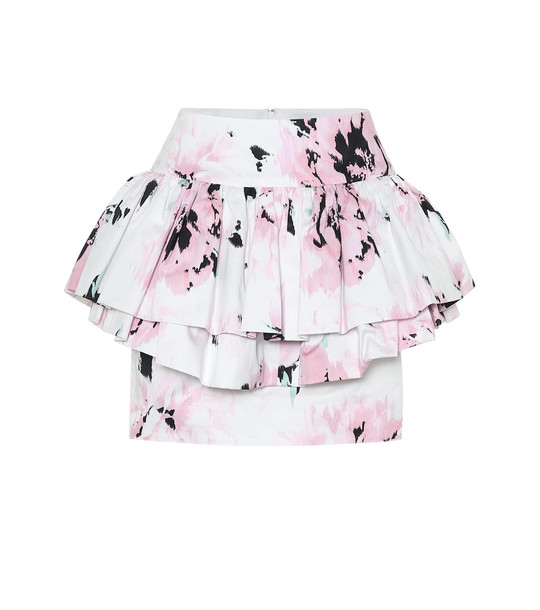 Alexandre Vauthier Cotton floral-printed mini skirt in white