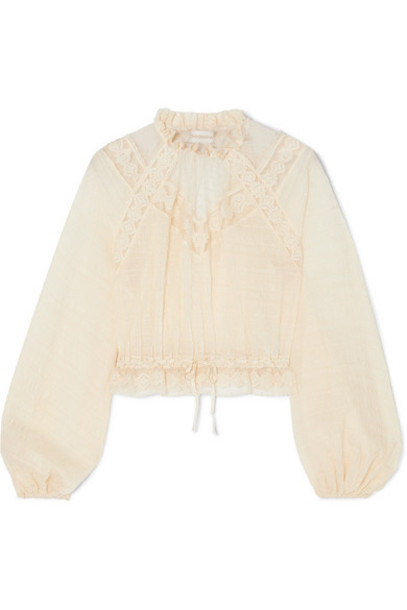 Zimmermann - Sabotage Crocheted Lace-trimmed Seersucker Blouse - Ivory