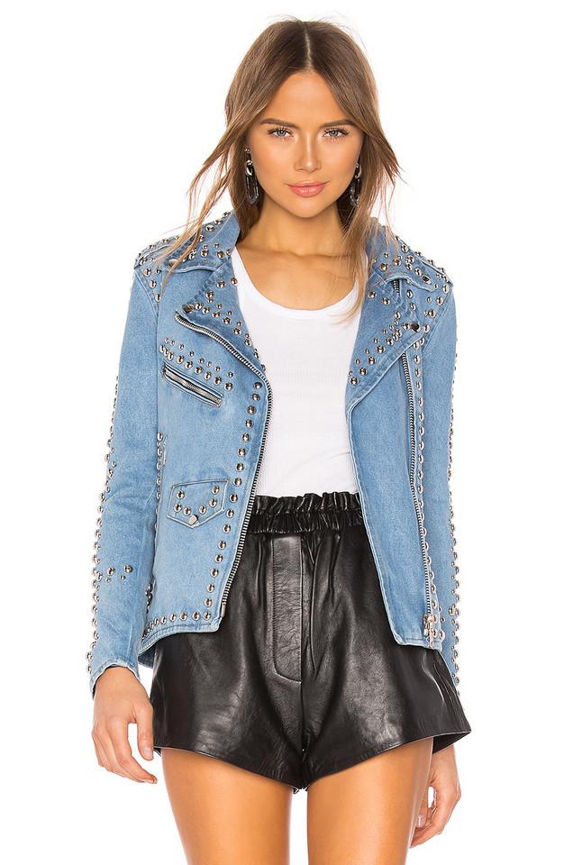 Understated Leather Studded Western Moto Jacket