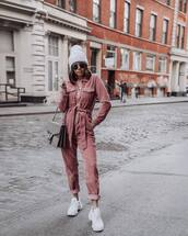 jumpsuit,pink,white sneakers,gucci bag,beanie