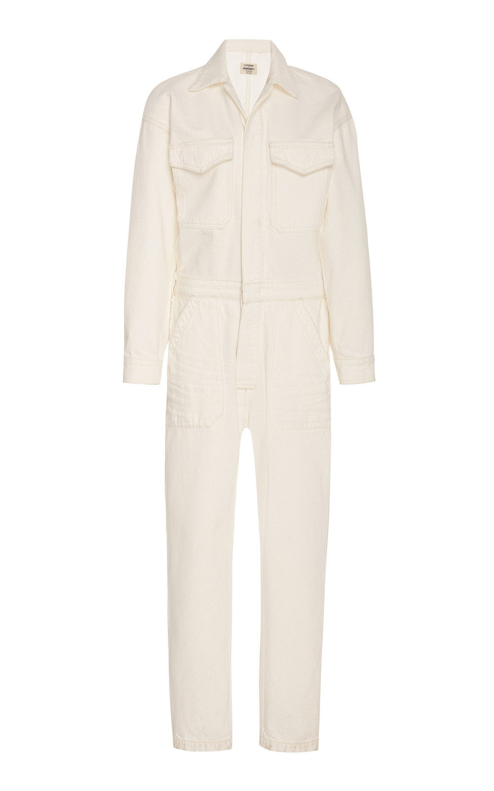 Citizens of Humanity Marta Cropped Denim Jumpsuit in white