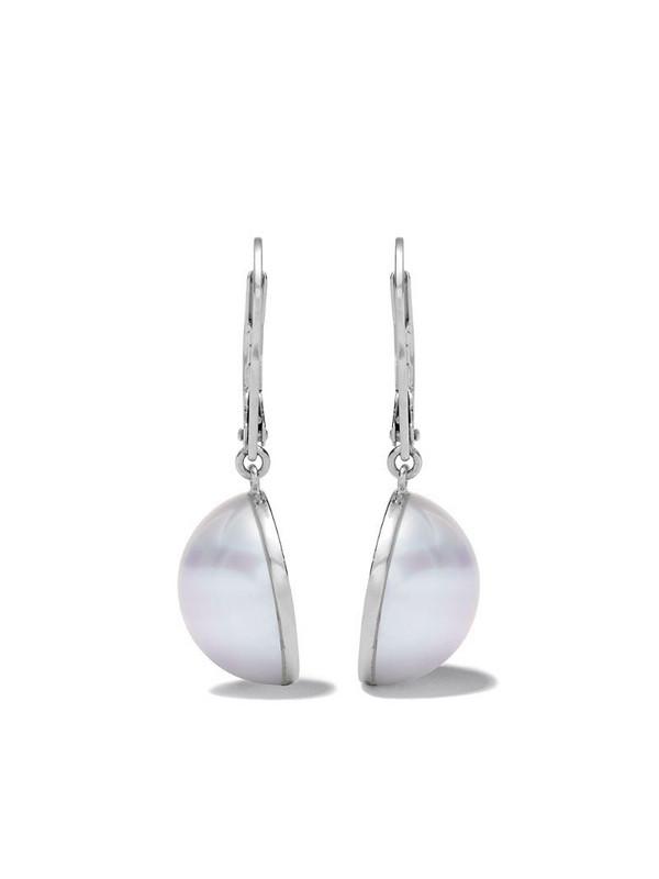 TASAKI 18kt white gold Sliced diamond and pearl earrings