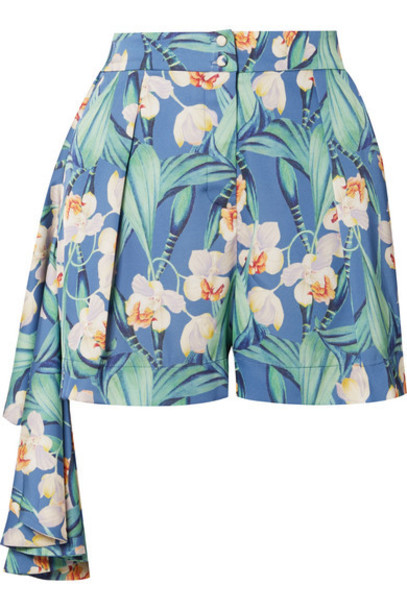 PatBO - Draped Floral-print Crepe Shorts - Blue