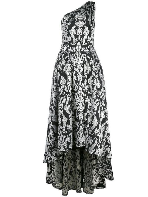 Tadashi Shoji Kolab one-shoulder jacquard gown in black