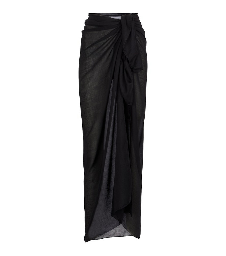WARDROBE.NYC Release 05 silk and cashmere midi skirt in black