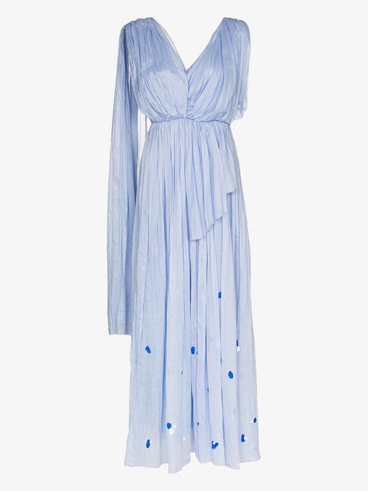 Vika Gazinskaya asymmetric tiered maxi dress in blue